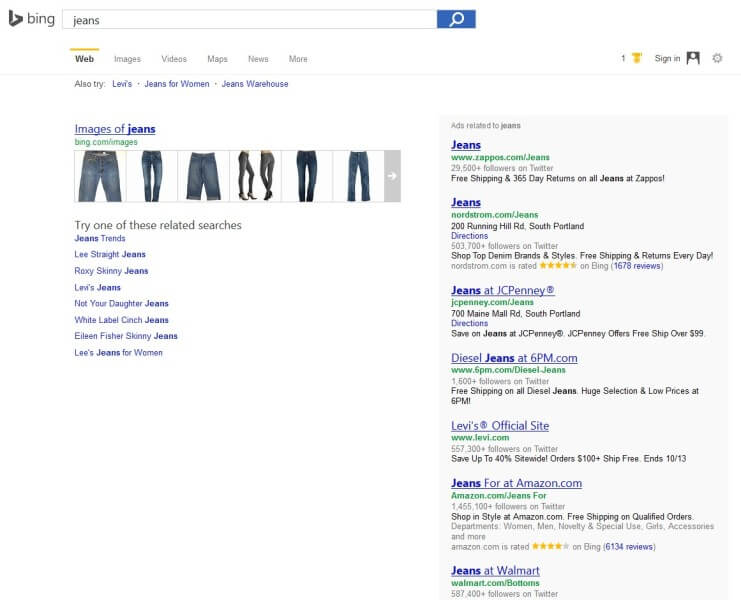 bing results with no organic listings