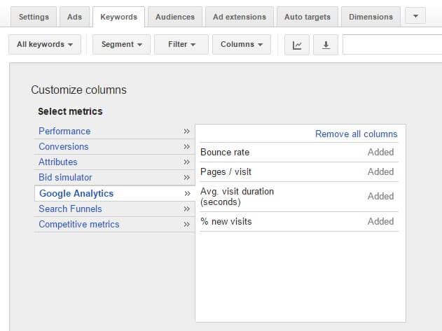 Google analytics columns in adwords to change