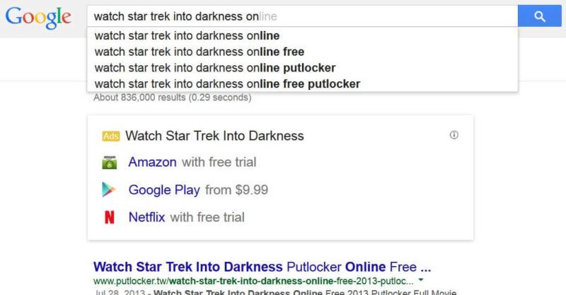 Google adwords movies ads card