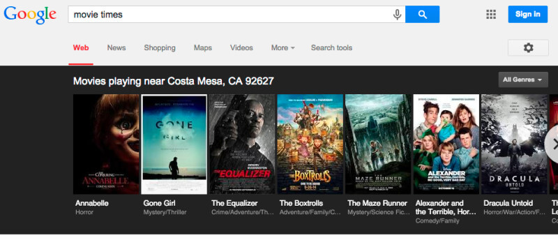 google movie times