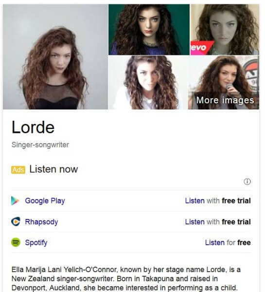 Music ads in knowledge panel Google