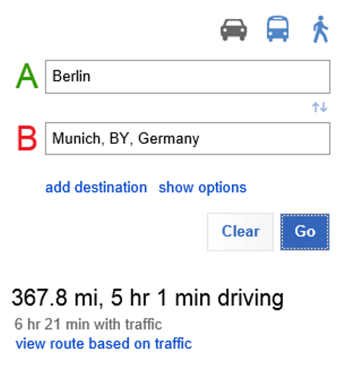 Bing Maps view route based on traffic