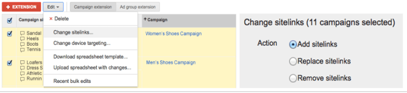 adwords bulk edit campaign settings and extensions