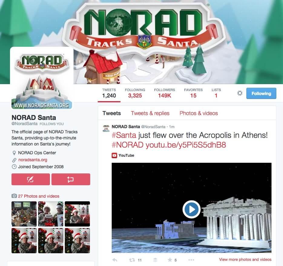 NORAD Twitter 2014