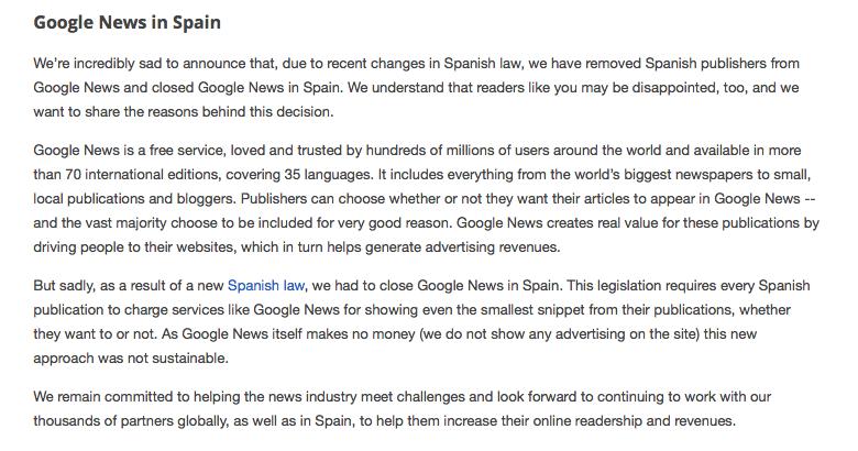 Google News Spain Letter