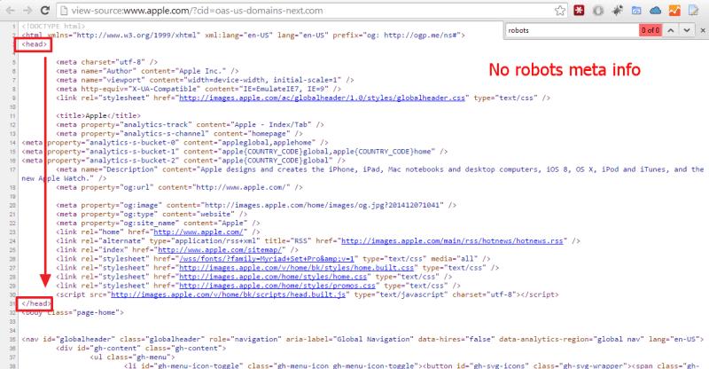 No Robots Meta Info