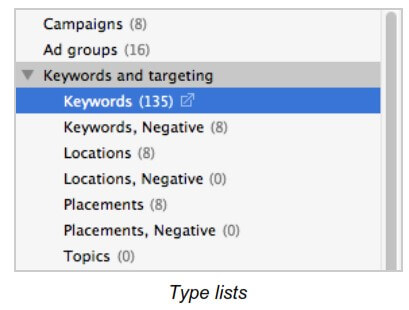type lists in Google Adwords Editor