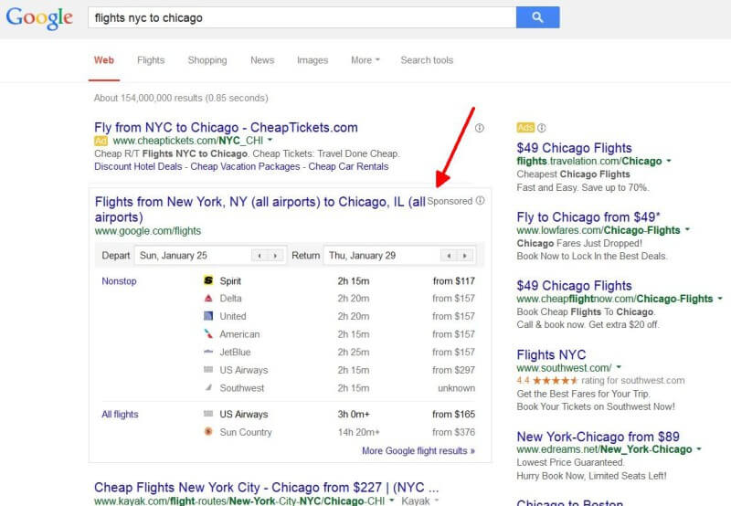 Google flights sponsored ads