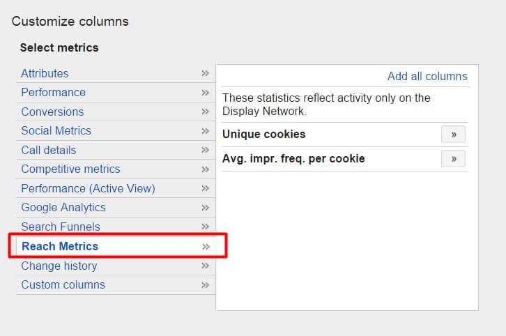 Reach metrics in AdWords