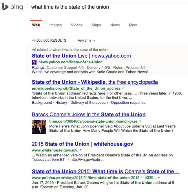 bing state of the union