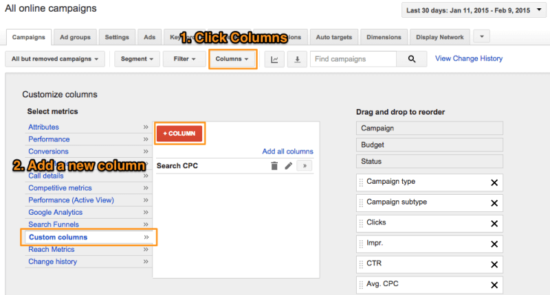 Add a Custom Column in AdWords