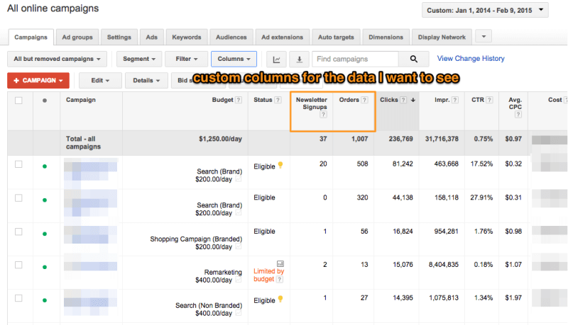 Custom Columns In AdWords