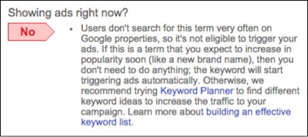 Image of low search volume notice