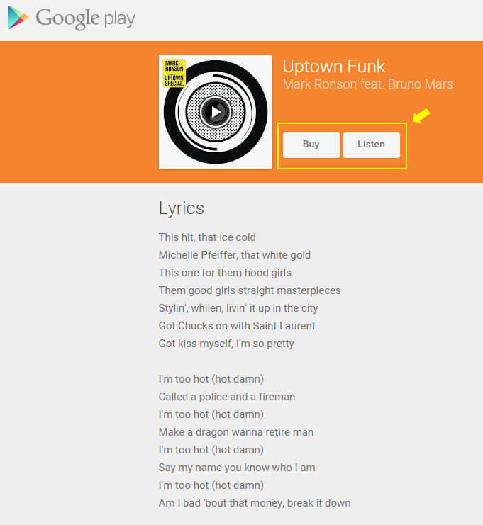 lyrics google play uptown funk