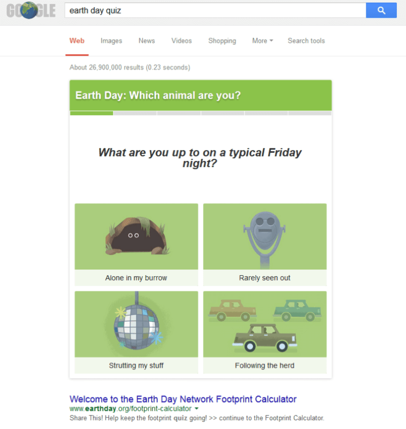 Earth Day Quiz search result
