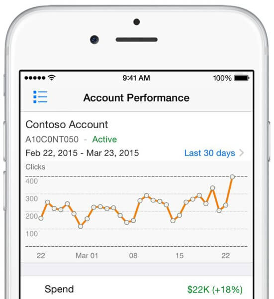 bing ads mobile app - account performance view