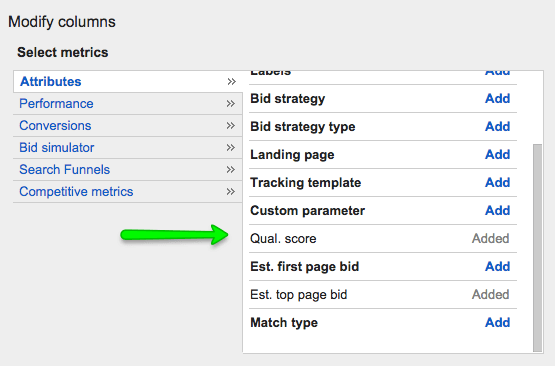 Adwords Quality Score Column