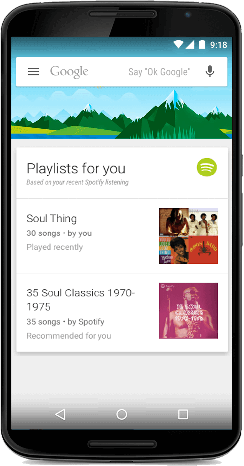spotify on google now