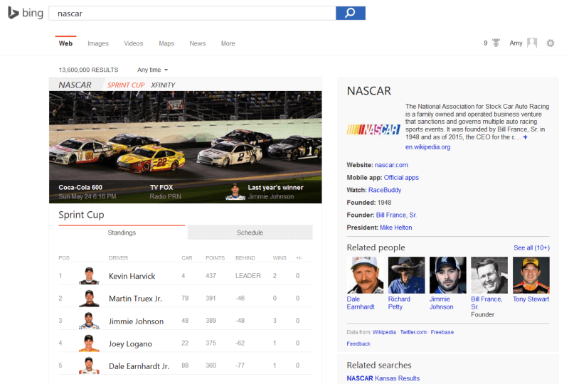 Bing nascar search