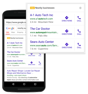google adwords three-pack location ads
