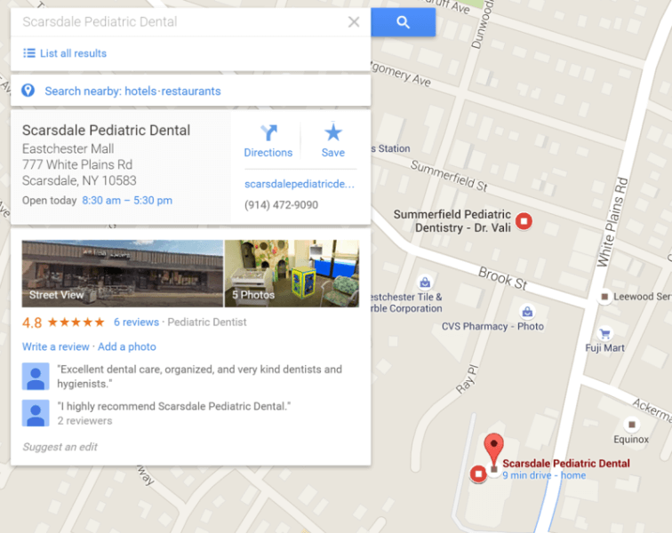google-maps-dentist-office