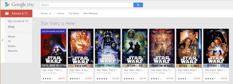 google play star wars selection