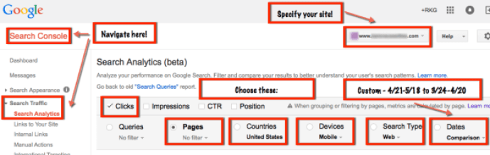 google search analytics mobile specification