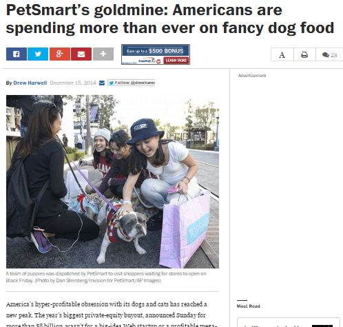 Screenshot of press on spending on pet food