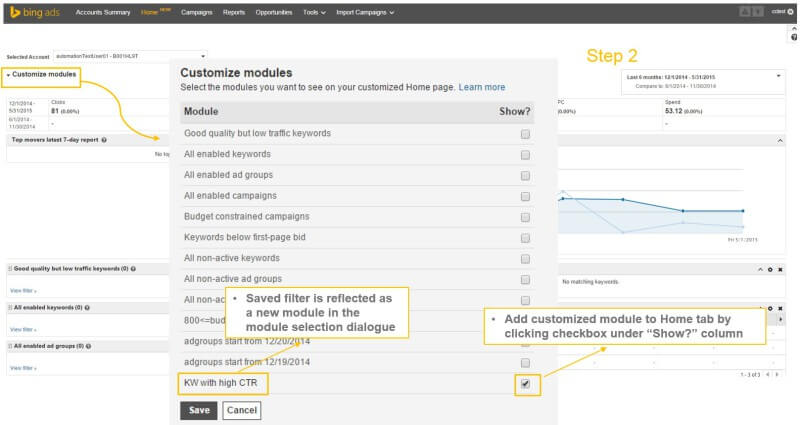 customize modules bing ads home page