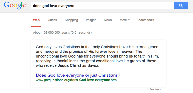 does god love everyone search