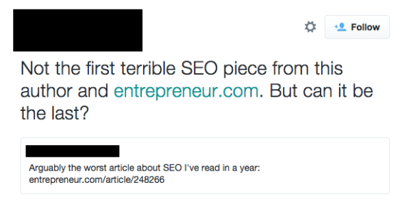 Bad SEO on Twitter