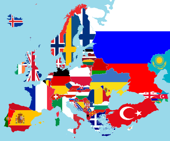 european continent with flags