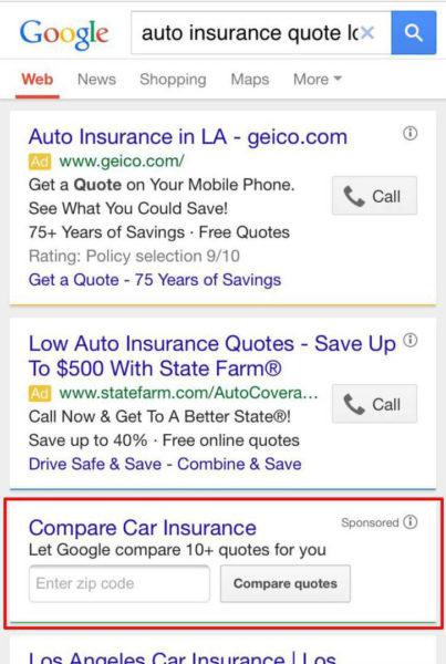 google compare auto insurance quotes