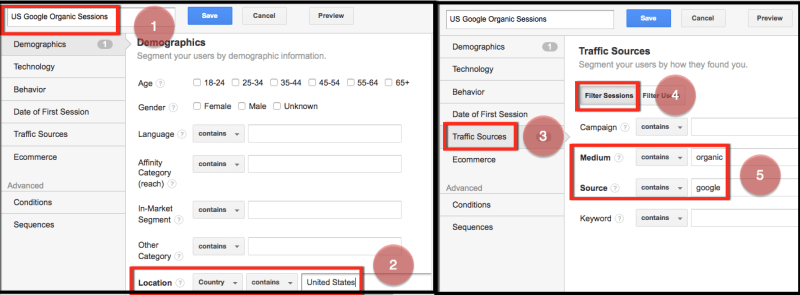 custom segments and alerts for seo us google