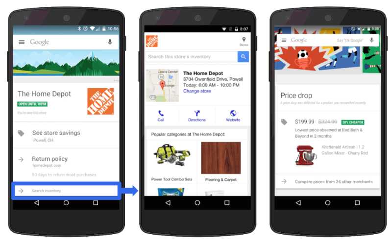 google now in-store cards