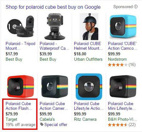 percentage off test in google shopping product listing ads