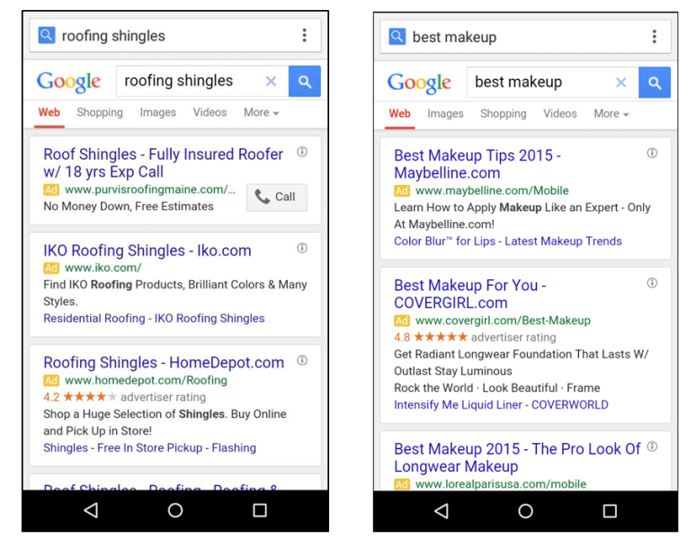 google showing three mobile text ads