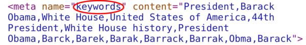 Whitehouse Meta Keywords