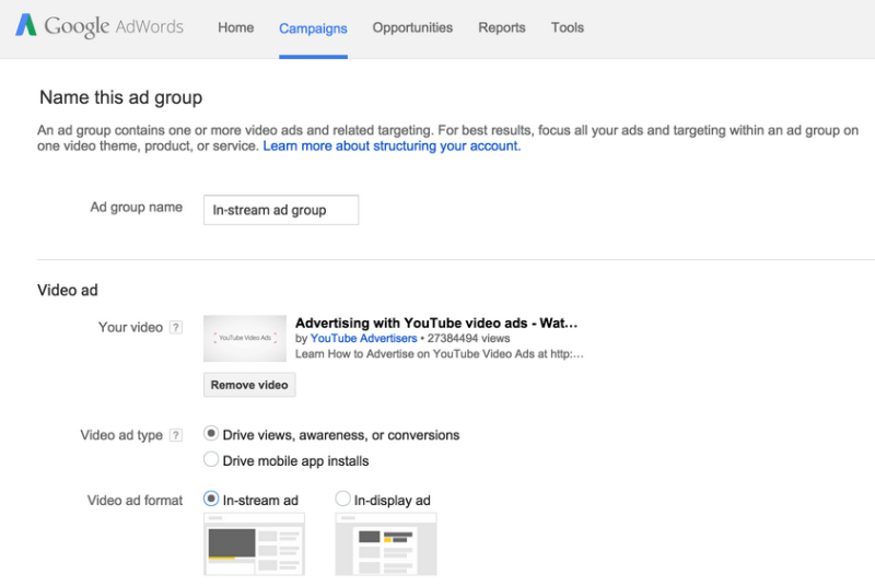 trueview adwords campaigns set up