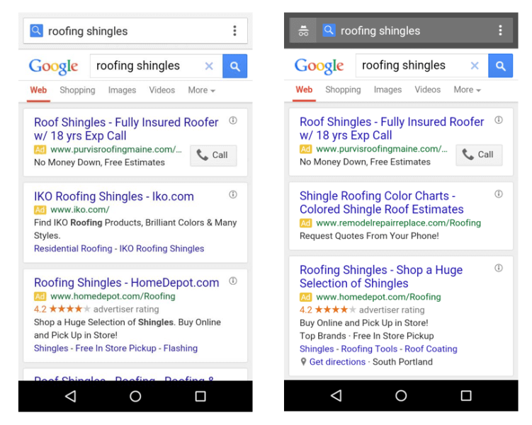 google-mobile-text-ads-three-ads-roofing-shingles-sidebyside