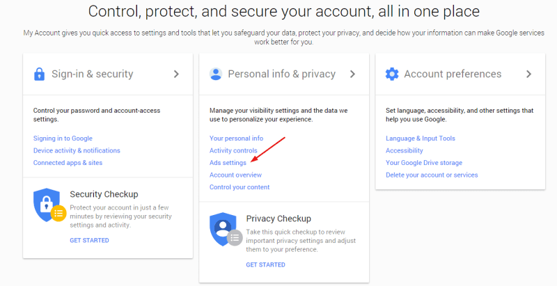 google account user settings