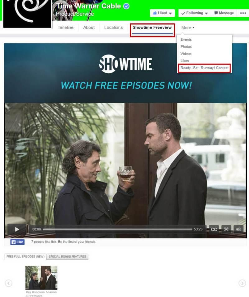 Time Warner Facebook Custom Tabs