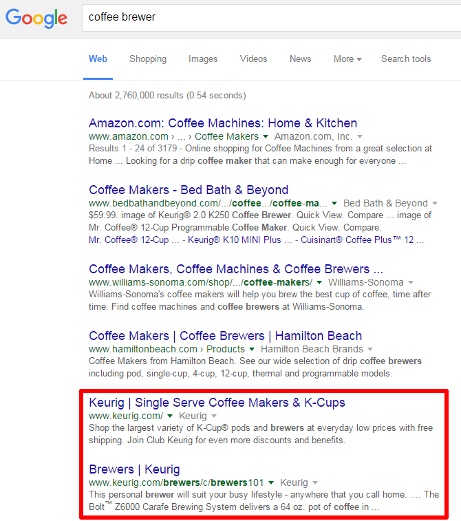 coffee brewer SERP