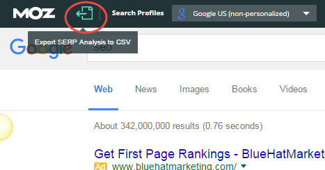 Using the MozBar to export SERP results