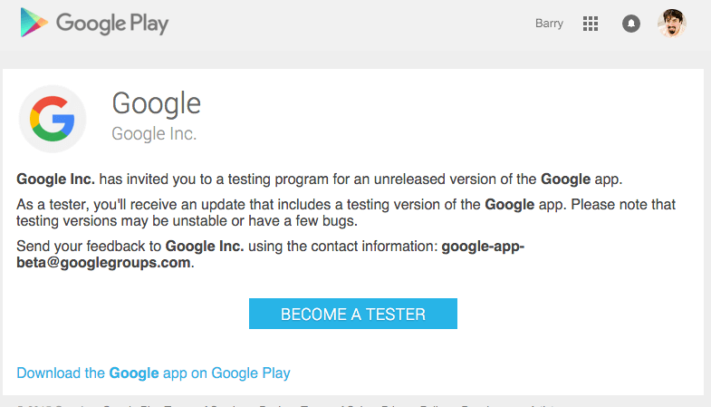 opt in Beta Version Of The Google Search App