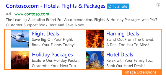 multiple image extensions in bing ads