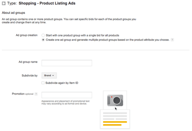 shopping ad group builder