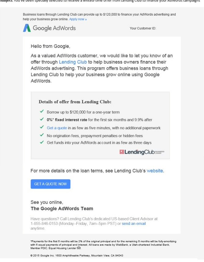 google adwords lending club email