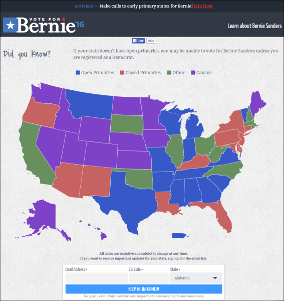 Bernie Sanders Vote for Bernie site map