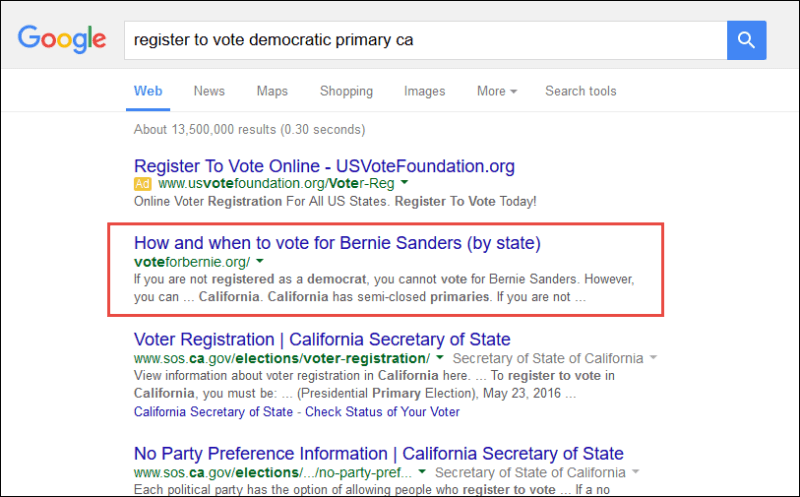 "Screenshot of the search result for ""register to vote democratic primary ca"""